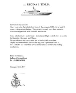 Reference letter form my Regina d'Italia