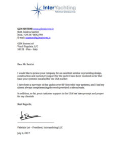 letter with reference for g2m by interyachting